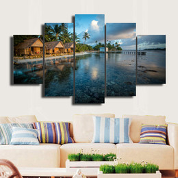 beautiful homes paint pictures NZ - 5 Panels Framed Wall Art Pictures Print On Canvas Painting For Home Kitchen Decoration theme -- Beautiful picture#041