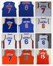 Noël Blanc Bon Marché Pas Cher-Cheap Mens # 6 Kristaps Porzingis Jersey 2017 New White Christmas Blue 7 Carmelo Anthony Orange # 15 Maillots de basketball universitaire