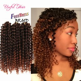 cheap crochet hair UK - ombre braiding hair WHOELSALE CHEAP PRICE SYNTHETIC HAIR EXTENSIONS deep wave 3pc pack Bouncy Curl 10inch crochet braids hair 3X bohemian