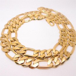 12mm figaro chain UK - 60cm Men's 14K Yellow Solid Gold Filled Figaro Necklace Chain Link Flat Hammered Wide 12mm 3 1