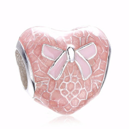 sterling silver bow bracelet UK - 2017 Authentic 925 Sterling Silver Bow Lace Heart Transparent Misty Bead Charm With Pink Enamel Fit Original Pandora Bracelet Diy