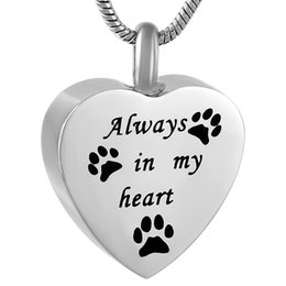 Urn Pendants NZ - IJD9788 Always with you Paw Cremation Jewelry Black paw Heart Pendant 316L Stainless Steel Urn Necklace With Free Shipping