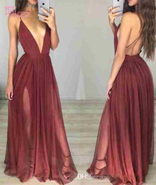 Barato Longas Cortinas De Vestido-2017 New Sexy Open Back Prom Dresses Long Deep V-Neck Plissados ​​Drapeado Dark Red Sexy Junior Vestidos de noite Vestidos de festa Evening Wear Cheap