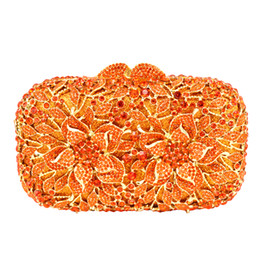 dark silver clutch bag NZ - Wholesale- Flower Pattern Evening Bag Blue Luxury Crystal orange Evening Clutch Bag Gold Diamond Party Purse Silver Banquet bag 88165