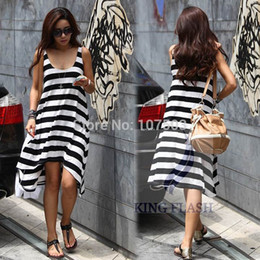 Robe À Rayures Irrégulières Pas Cher-Vente en gros - 2014 Hot Sales Women Girl Summer Casual Stripe Irregular Beach Dress Sans manches Sexy Sundress 16368