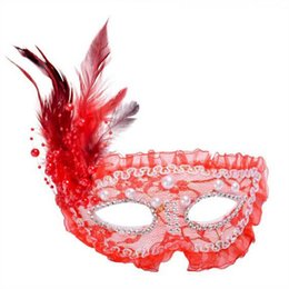 $enCountryForm.capitalKeyWord Australia - 2017 new Party Masks Pearl feather masks half face princess mask Halloween masquerade lace mask free shipping