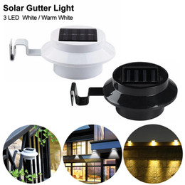 wall lanterns outdoor solar light UK - Edison2011 3 LED Solar Lamp Gutter White Light Fence Garden Light ON OFF Outdoor Lighting Yard Garden Wall Lobby Pathway Lantern
