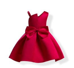 Perfect Ball Gowns NZ - new fashion Hot ua bowknot dinner dress kids flower twill ball gown perfect baby clothing 100-120cm brand high quality new year party
