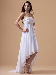 Simple Maternity Wedding Dresses Canada - Summer White Chiffon Maternity Beach Wedding Dresses High Low Sweetheart Empire Beaded Bridal Gowns For Pregnant Women Custom Made