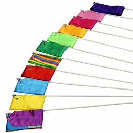 Cintas De Danza Al Por Mayor Baratos-Colorido Gimnasio Dance Ribbon Rhythmic Art Streamer Girando Stirling Rod Stick 10 colores al por mayor 4M