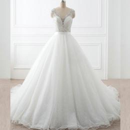 line wedding dresses straps bling 2019 - Sparkly Wedding Gowns A Line Sheer V Neck Sleeveless Beading Top Illusion Back Sequined Tulle Bling Bling Bridal Dresses