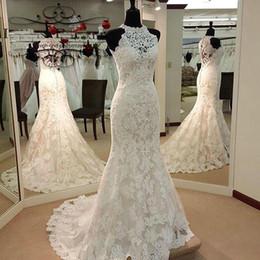 Full Length Robe Soiree NZ - trouwjurk Custom Made High Neck Wedding Dresses 2017 Lace Mermaid Wedding Dress Sleeveless Court Train robe de soiree Full Lace Bride Gowns