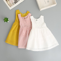 Wholesale Everweekend Girls Summer Robe en dentelle florale Ruffles Candy  Pink White and Yellow Color Princess