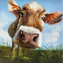 $enCountryForm.capitalKeyWord NZ - Framed Lovely Modern Cow,genuine Hand Painted Wall Decor Cartoon Animal Art Oil Painting On Thick Canvas Multi Sizes Free Shipping AL-MEI