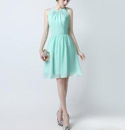 $enCountryForm.capitalKeyWord Canada - Robe de Soiree Cocktail Dresses 2017 Scoop Neck Short Prom Gowns For Girls Zipper Design Back Mint Green Bridesmaid dresses short dress