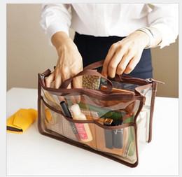 Venta al por mayor de Las mejores mujeres de la marca de fábrica PVC impermeabilizan los bolsos cosméticos transparentes Travel Large Necessaries componen el bolso Organizador de la belleza Toallatry la cremallera doble del bolso