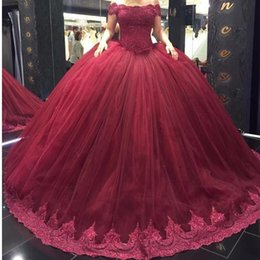f648e726893 Burgundy Ball Gown Tulle Quinceanera Dresses 2017 New Elegant Off the  Shoulder Lace Sequins Appliques Top Organza Long Sweep Train Gowns