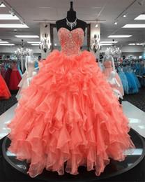 $enCountryForm.capitalKeyWord NZ - Ball Gowns Quinceanera Dresses Ruffles Skirt With Beading Sweetheart Sexy 16 Dresses vestido longo formatura graduation dress patterns
