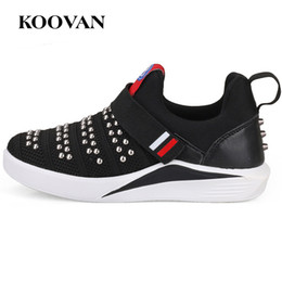 Tissu De Vente De Crochet Pas Cher-Hot Sale Stretch Fabric Sneakers Rivet Running Sneaker Kids Toddle Shoes Vente en gros 2017 Koovan Big Kids Chaussure Haute Qualité Free Ship K340