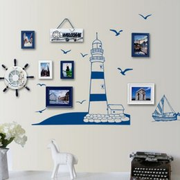 Wholesale 1 Pcs DIY Creative Lighthouse Seaside Wall Sticker Vinyl  Removable Mural Decor Home Room Decal