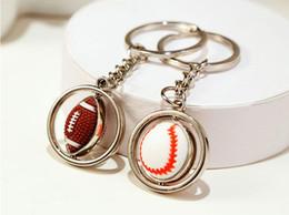 Wholesale meet balls for sale – custom Mini series sport ball key ring Rugby baseball golf ball shape key chain Can degrees rotates creative sports meet gift