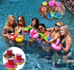 Inflatable Pools Wholesale Canada - 2017 Summer Cute Drink Can Holder PVC Inflatable Floating Coconut Trees Swimming Pool Bathroom Beach Water Drink Holder 10 colors