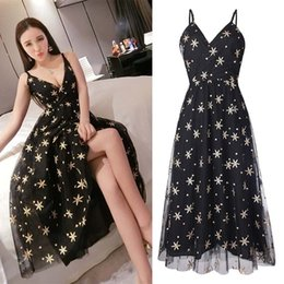 Robes Polka Filles Sexy Pas Cher-Femmes Lady Girls Casual Fashion Broderie Star Polka Dot sans manches V-cou Sexy Long Dress Jupes Vêtements 3090