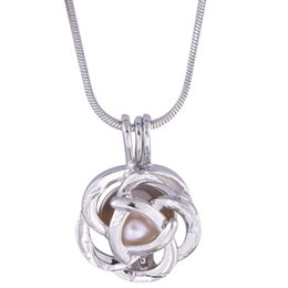 Chinese  18kgb flower Pearl Cage Pendants Oyster Lockets For DIY Wish Love Pearl Pendant Necklace Jewelry Good Gift Women manufacturers