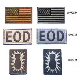 c065bd282bd America Flag Patch Embroidery EOD Tactical Patches Hook And Loops Morale Armband  Army Combat Gear Badge 6pcs