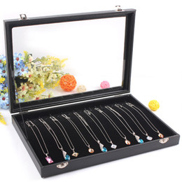 Glasses Display Cases Canada - Fashion Black Jewelry Display Box Necklace Case Bracelet Holder Jewelry Chain Pendants Showcase With Glass Cover