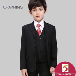 Three Piece Suit Bow Australia - Kids suits for boys Three piece suit Free shirts and bow ties Black high quality Boys suit set Childerns suits Wedding suits for boys