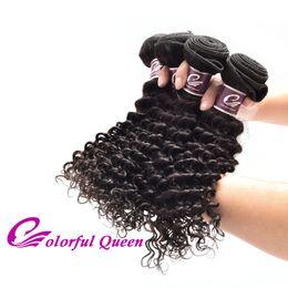 Colorful Human Hair Australia - Colorful Queen Peruvian Hair Weave Deep Wave 4 Pcs Wholesale 7A Grade Peruvian Deep Curly Virgin Human Hair Bundles for Black Women 400g