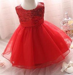 Barato Vestidos De Festa De Casamento-Venda Por Atacado - Novo 2017 Summer Sequins Baby Girl Dress For Formal Evening Prom Party Toddler Girls Clothes 1 ano Baby Girl Birthday Tutu Dress