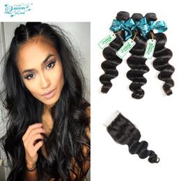 $enCountryForm.capitalKeyWord NZ - Cheap Brazilian Loose Wave 4 bundles With Lace Closure Buy Queen 8A Brazilian human hair extension unprocessed virgin hair weave