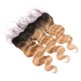 closures wave UK - #1B 27 Honey Blonde Ombre Brazilian Human Hair Full Lace 13x4 Ear to Ear Frontal Body Wave Light Brown Ombre Lace Frontal Closure