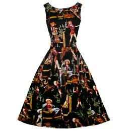89c9220e79 Black Knee Length Skater Dress Canada - Free shipping 1940s 50s Print  Audrey Flared Swing Skaters