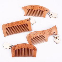 China Wholesale- New Teeth Natural Wooden Hair Comb with Cute Cartoon Rabbit Bear Pendant #68042 cheap bored hair suppliers