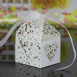 Marriage Party Decoration NZ - 100pcs lot free shipping laser cut love heart flowers pattern paper Wedding candy chocolate snack boxes wedding birthday party decoration