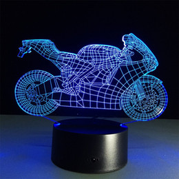 $enCountryForm.capitalKeyWord NZ - Creative pull the wind Motorcycle 3D Optical Illusion Touch Botton 7 Color Changing LED Night Light Desk Lamp 15 keys remote control