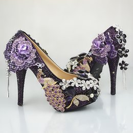 Barato Strass Preto Sapatos De Dama De Honra-Hand-Made Black e Purple Tassel Flower Cinderella Shoes Prom Evening High Heels Beading Rhinestones Bridal dama de honra sapatos de casamento