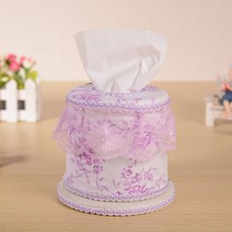 plastic napkins holders Canada - Wholesale- Hot European Style Elegant Tissue Boxes Wedding Royal For Paper Car Covers Towels Tissue Box Cover Household Lace Napkin Holder