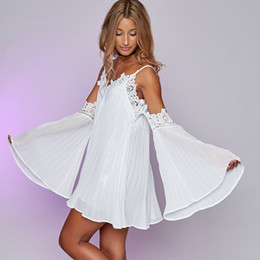 long batwing white dresses Canada - Sexy black lace summer dress 2016 christmas Short split white women dress shirt Off shoulder long sleeve beach sundress