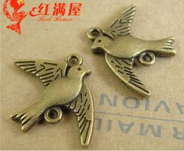 bird connectors NZ - 18*22MM ZAKKA vintage hand made jewelry, antique bronze birds charms connector metal pendants double hole connector wholesale 2017 NEW style
