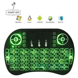 Usb Wireless Keyboards Canada - Rii i8 Portable Mini Keyboard 3 Color Backlit Fly Mouse chargeable battery USB Cable 2.4G Wireless Mini Keyboard Mouse Combo with Touchpad