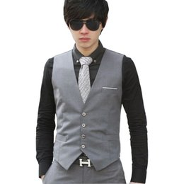 Barato Homens Moda Escritório Slim Fit-Venda por atacado - 2017 New Fashion Formal Men Suit Ganga Brand Quality Slim Fit Solid Color Business Office Vestido Waistcoat Vest Black Grey Navy