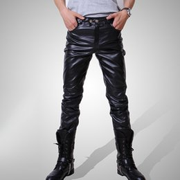 $enCountryForm.capitalKeyWord Canada - Wholesale-Casual Men Fashion Skinny Motorcycle Faux Leather Trousers Black Long Pants For Men Asia Tag Size M-3XL (No Belt)