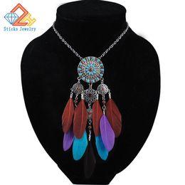 $enCountryForm.capitalKeyWord Canada - 2019 women bohemian necklace&pendants black feather statement choker necklace antique tribal ethnic