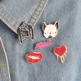 Alloy Jacket Canada - Fashion Cartoon Pins Brooch Lapel Pin Badge Sexy Lip Heart French Bulldog Leather Jacket Design For Women Girl Jewelry