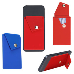 Chinese  Adhesive Silicone Phone Wallet with Snap Pocket Phone Back Stick-on Credit Card Holder with Stand for Smart Phone Random Color Wholesale manufacturers