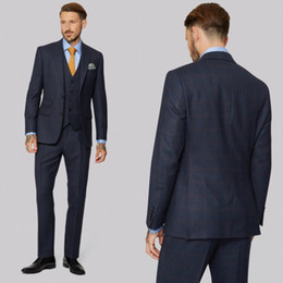 $enCountryForm.capitalKeyWord Australia - Handsome Men Suits Tuxedos For Wedding Three Pieces Dark Blue Glen Plaid Groom Bridal Suits Custom Made Groomsmen Suits Jacket+Vest+Pants